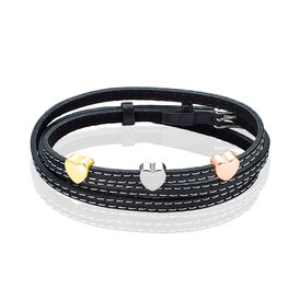 Damen Lederarmband Edelstahl Tricolor Herz - Black Friday Damen | Oro Vivo