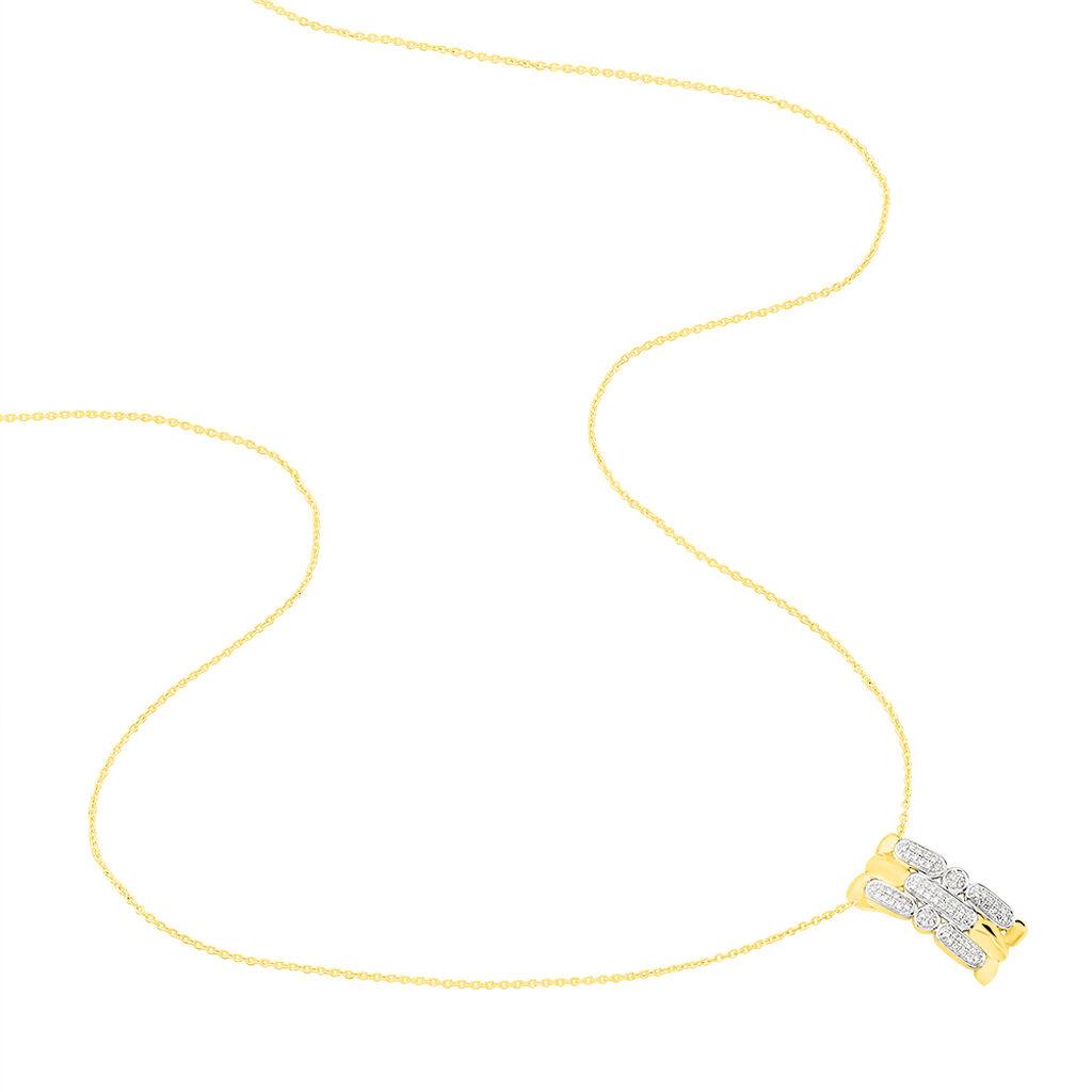 Damen Halskette Gold 375 Diamanten 0,14ct - Ketten mit Anhänger Damen   Oro Vivo