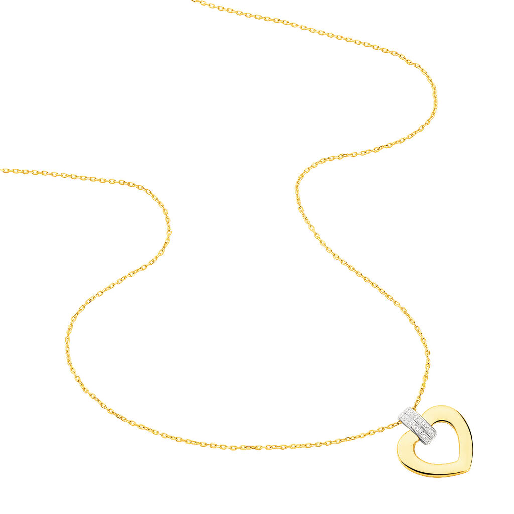 Damen Halskette Gold 375 Diamanten 0,008ct Herz - Herzketten Damen | Oro Vivo