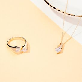 Damen Halskette Gold 375 Zirkonia - Ketten mit Anhänger  | Oro Vivo