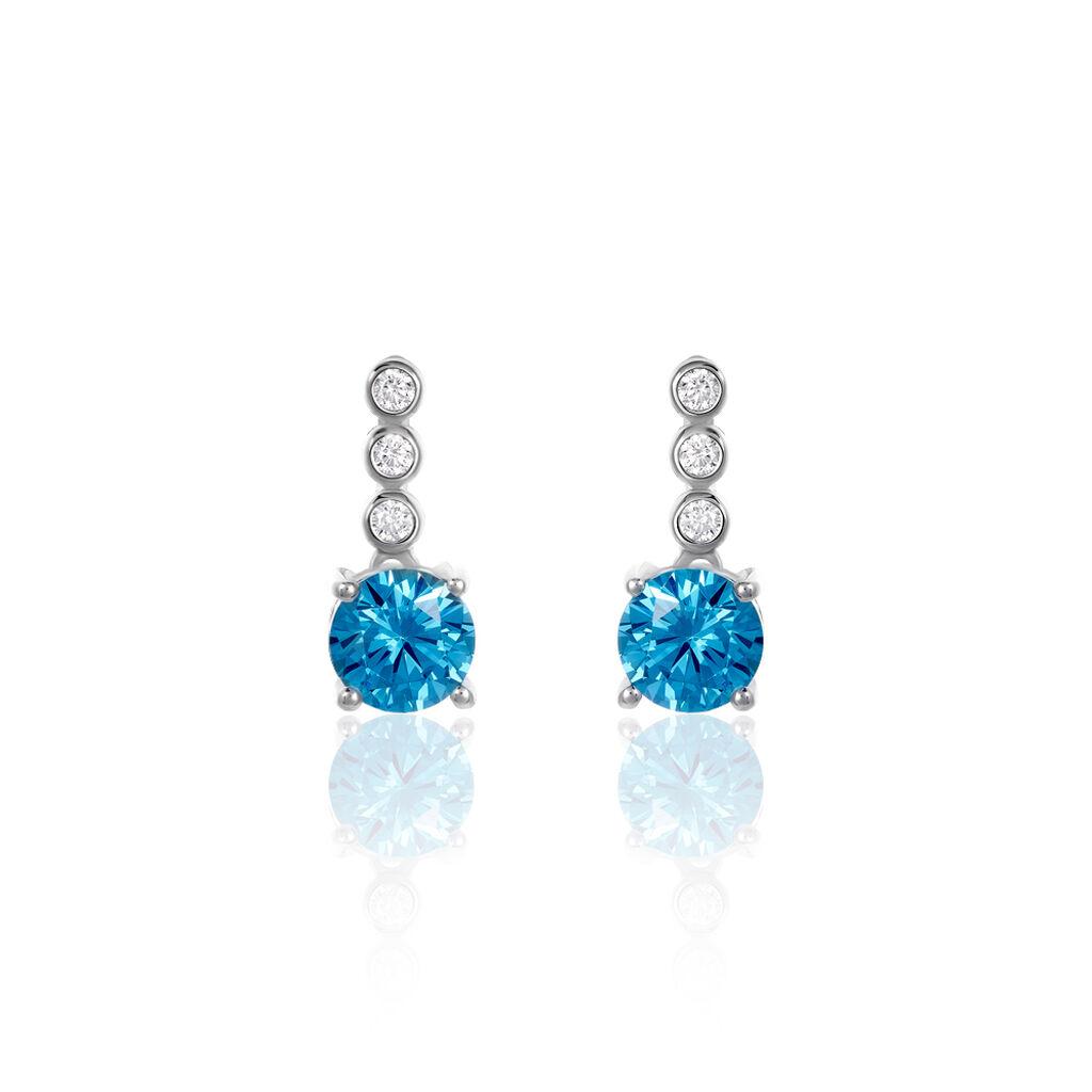 Damen Ohrstecker Silber 925 Blauer Zirkonia  - Blauer Schmuck Damen | Oro Vivo