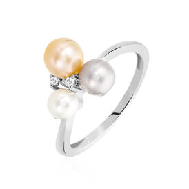 Damenring Silber 925 Zuchtperlen Zirkonia - Ringe mit Stein Damen | Oro Vivo