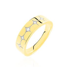 Damenring Gold 375 Zirkonia Rhodiniert Sterne - Ringe mit Stein    Oro Vivo