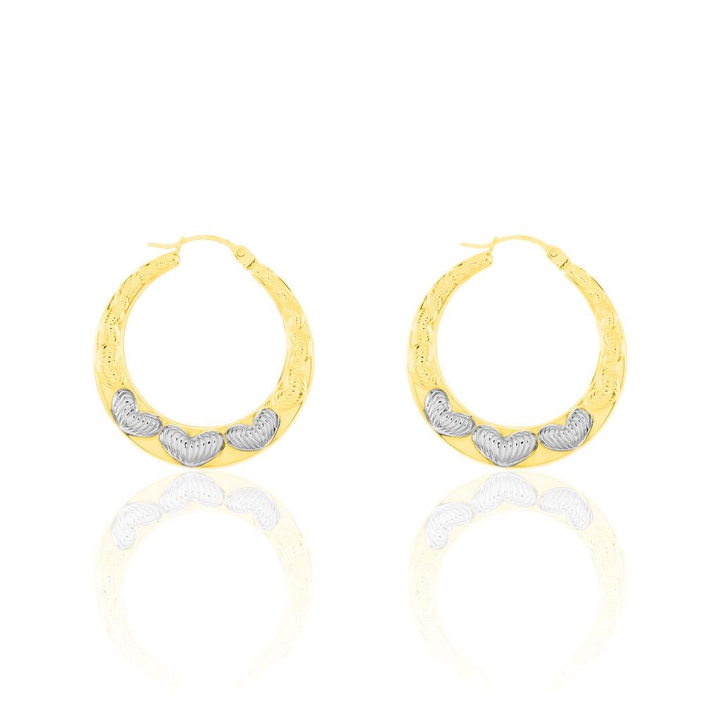 Damen Creolen Gold 375 Bicolor Herz - Creolen Damen | Oro Vivo