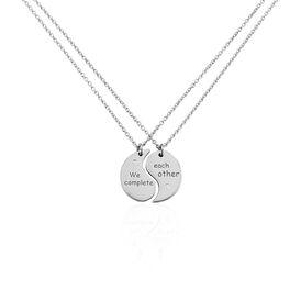 Freundschaftskette Silber 925 Rhodiniert Zirkonia  - Ketten mit Anhänger Unisex   Oro Vivo