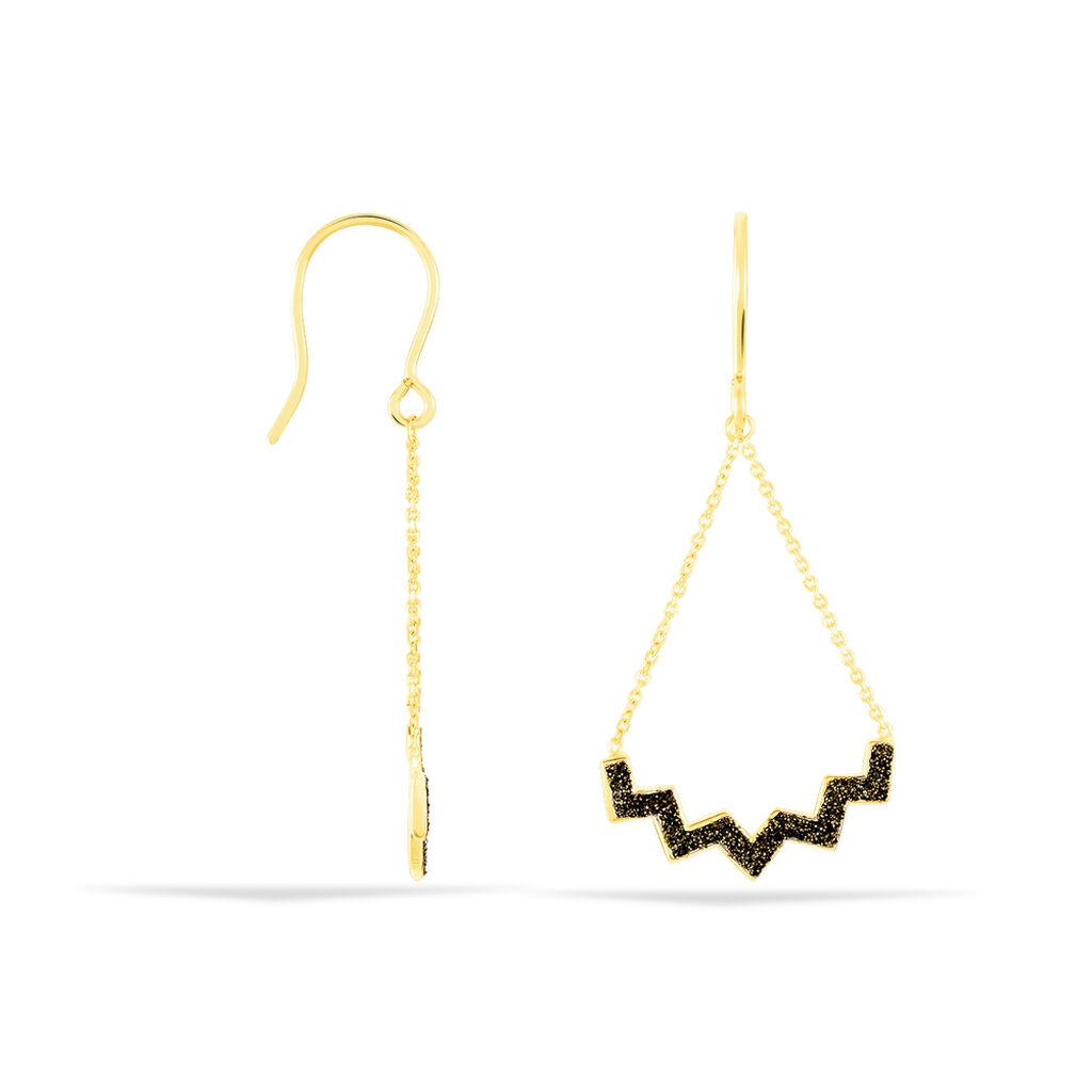 Damen Ohrhänger Lang Gold 375 Diamantiert Zickzack - Ohrhänger Damen | Oro Vivo