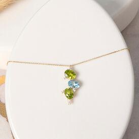 Damen Halskette Gold 375 Peridot Topas Zirkonia - Ketten mit Anhänger Damen | Oro Vivo