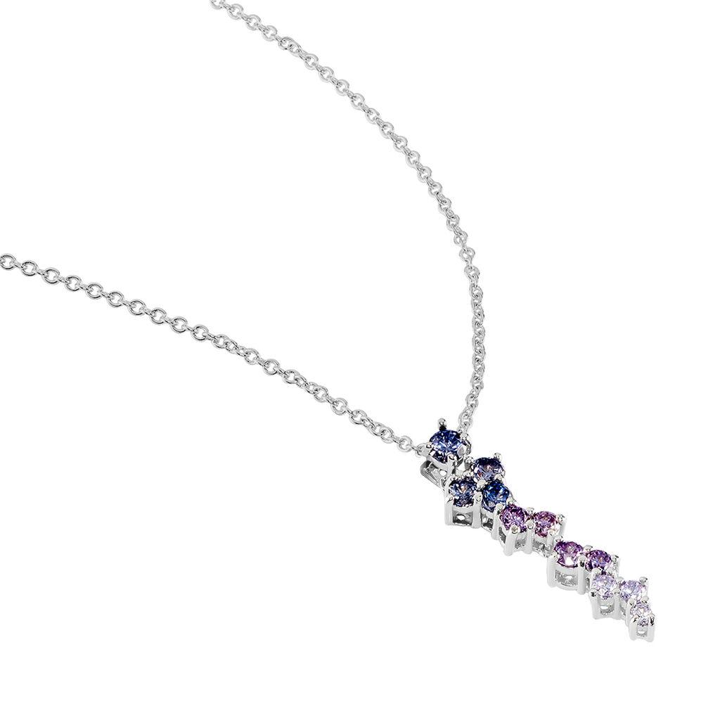 Damen Halskette Silber 925 Zirkonia Multicolor - Ketten mit Anhänger Damen | Oro Vivo