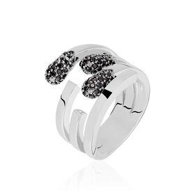 Damenring Silber 925 Schwarzer Zirkonia - Ringe mit Stein Damen | Oro Vivo
