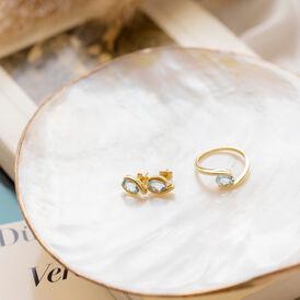 Spannring Gold 333 Blauer Topas  - Ringe mit Stein Damen   Oro Vivo