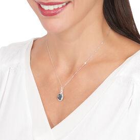 Damen Halskette Weißgold 375 Londontopas Zirkonia - Ketten mit Anhänger Damen | Oro Vivo