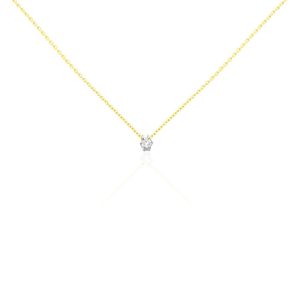 Damen Halskette Gold 375 Diamant 0,1ct 45cm - Ketten mit Anhänger Damen   Oro Vivo