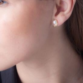 Damen Perlenohrringe Gold 375 Zirkonia Zuchtperlen - Ohrstecker Damen   Oro Vivo
