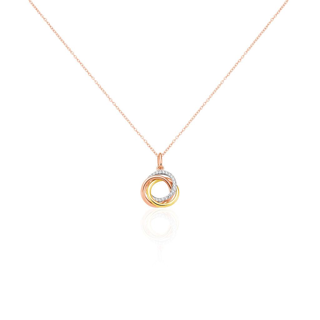 Damen Halskette Silber 925 Tricolor Zirkonia - Ketten mit Anhänger Damen | Oro Vivo