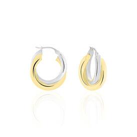 Damen Creolen Silber 925 Bicolor 20mm - Creolen Damen | Oro Vivo