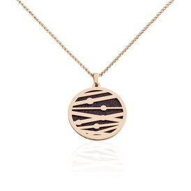 Damen Halskette Edelstahl Rosé vergoldet Kreis - Ketten mit Anhänger Damen   Oro Vivo