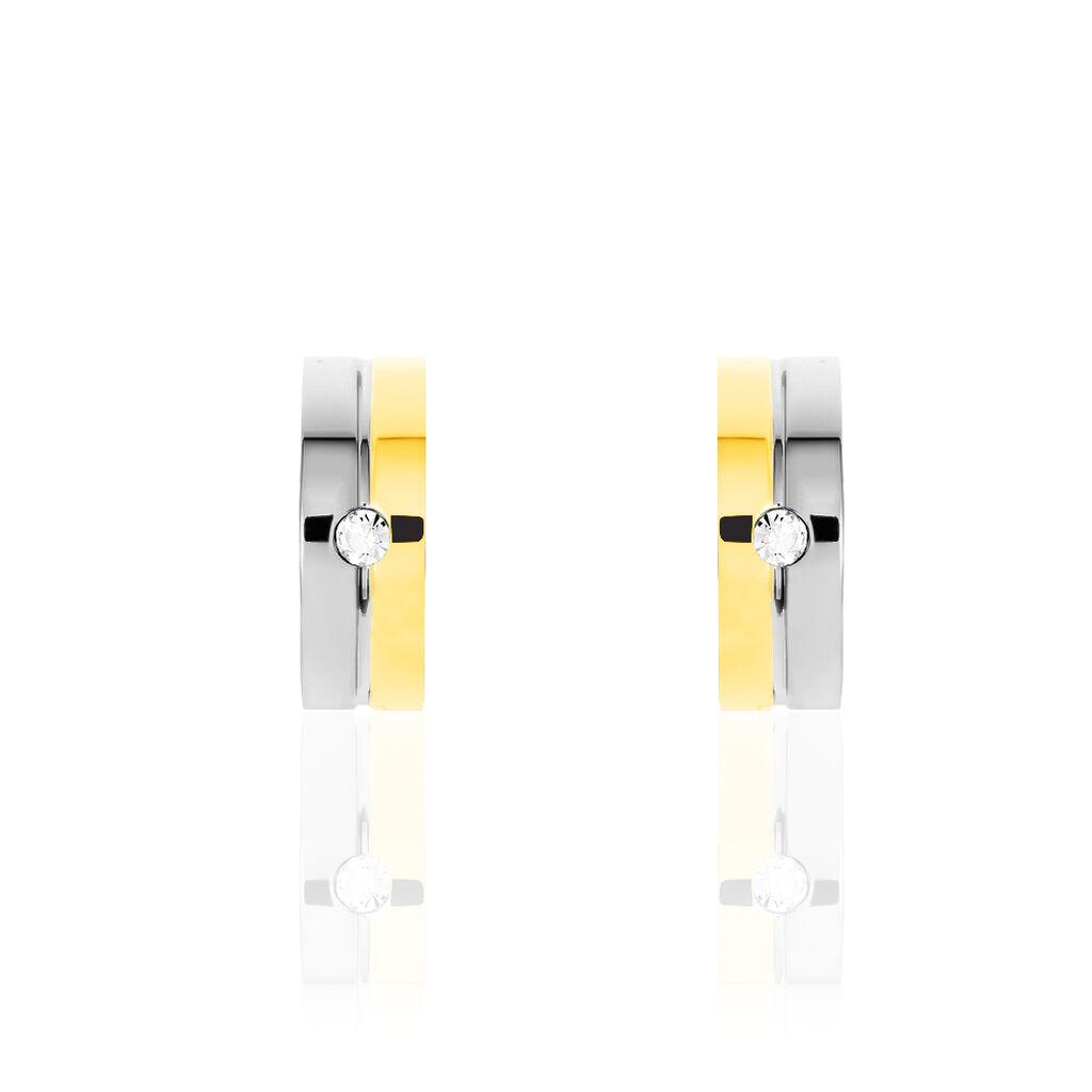 Damen Creolen Edelstahl Bicolor Kristall 21mm - Creolen Damen   Oro Vivo
