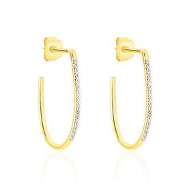 Damen Steckcreolen Gold 375 Diamanten 0,055ct  - Creolen Damen   Oro Vivo