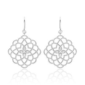 Damen Ohrhänger Lang Silber 925 Zirkonia Blume -  Damen | Oro Vivo