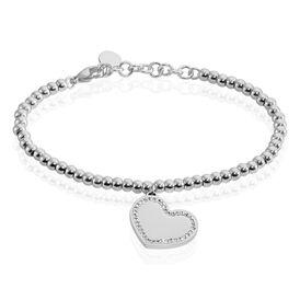 Damenarmband Kugelkette Edelstahl Kristall Herz - Armbänder Damen   Oro Vivo