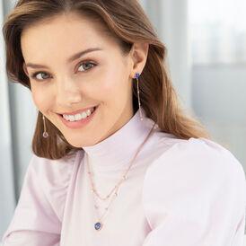 Damen Ohrstecker Lang Silber 925 Rosé Vergoldet - Ohrstecker lang Damen   Oro Vivo
