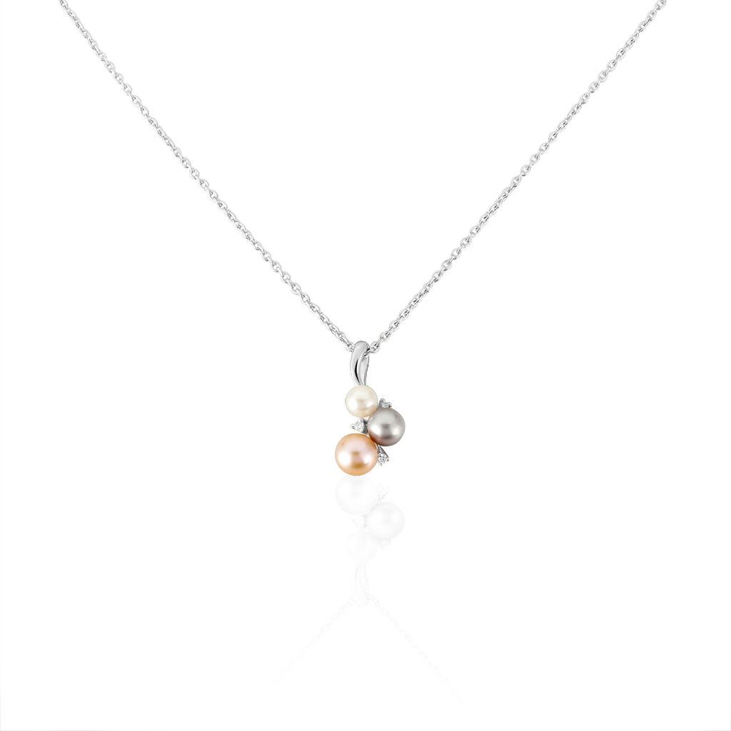Damen Halskette Silber 925 Zuchtperlen Zirkonia - Ketten mit Anhänger Damen   Oro Vivo