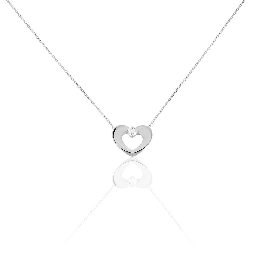 Damen Halskette Weißgold 375 Diamant 0,02ct Herz - Herzketten Damen | Oro Vivo