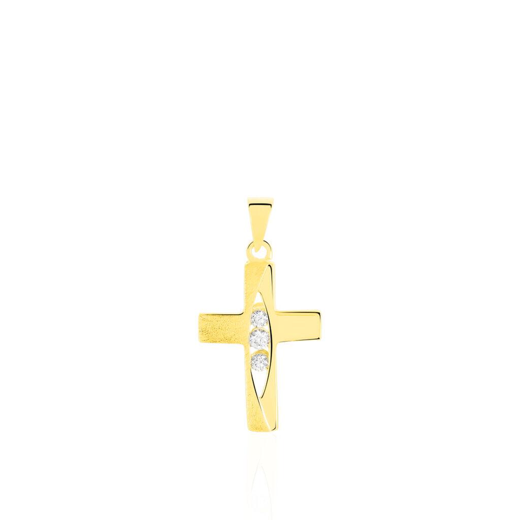 Anhänger Gold 375 Zirkonia Kreuz - Kreuzanhänger Damen | Oro Vivo