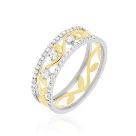 Damenring Silber 925 Bicolor Vergoldet Zirkonia  -  Damen | Oro Vivo
