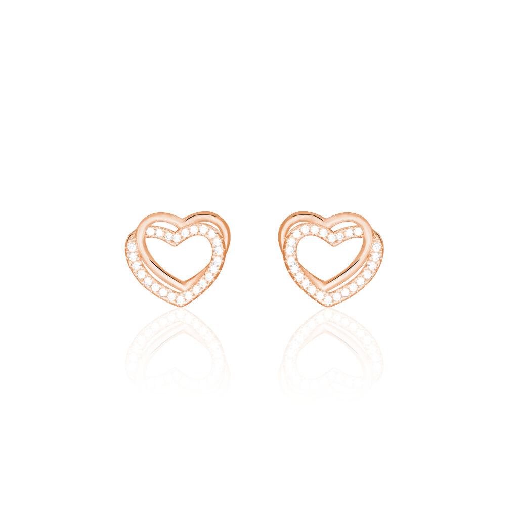 Damen Ohrstecker Silber 925 Rosé Vergoldet Herz - Ohrstecker Damen | Oro Vivo