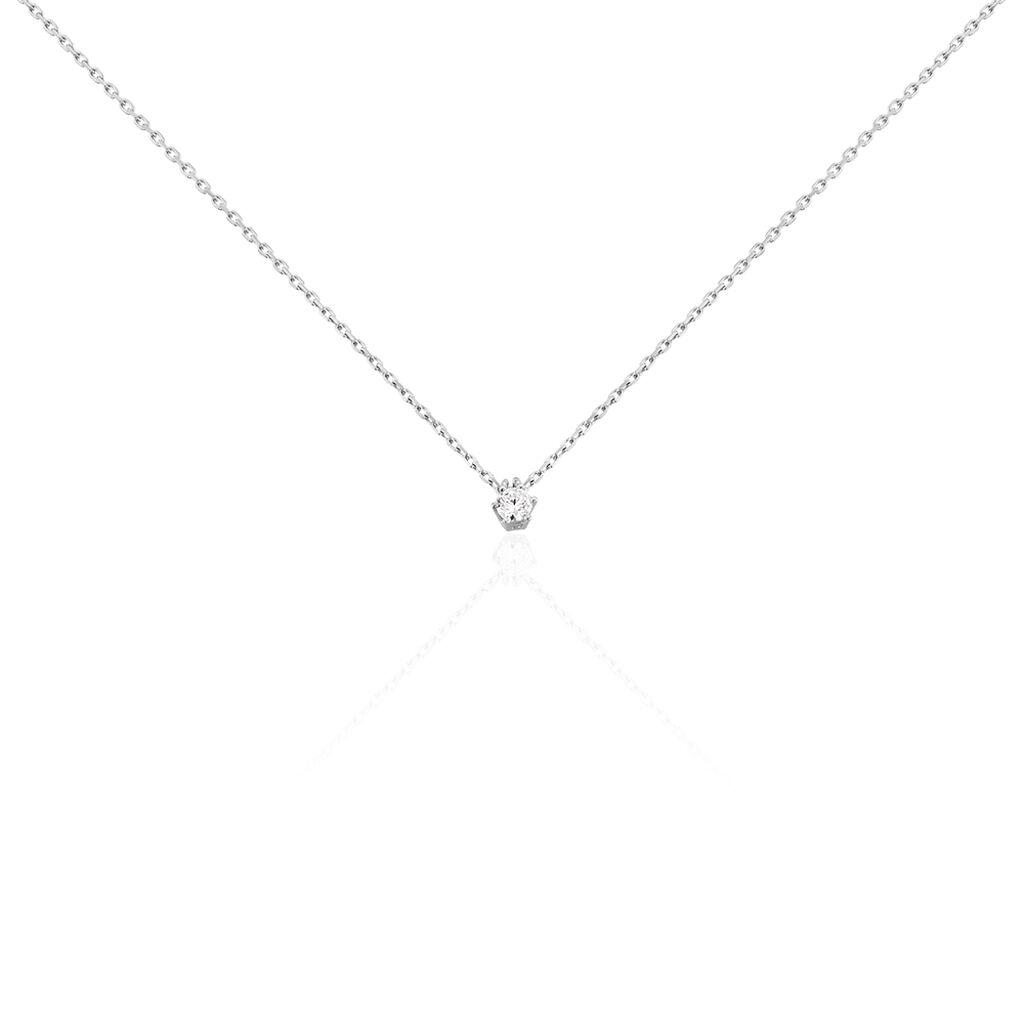 Damen Halskette Weißgold 375 Diamant 0,1ct 45cm - Ketten mit Anhänger Damen   Oro Vivo