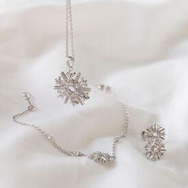 Damen Halskette Silber 925 Zirkonia Schneeflocke - Ketten mit Anhänger Damen | Oro Vivo