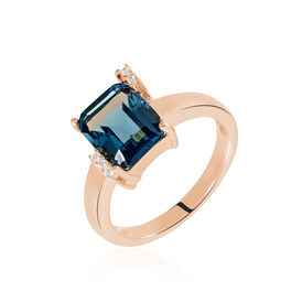 Damenring Silber 925 Rosé Vergoldet Glastein -  Damen | Oro Vivo