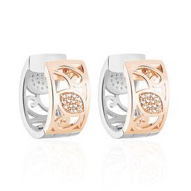 Damen Creolen Silber 925 Bicolor Zirkonia  - Creolen Damen | Oro Vivo