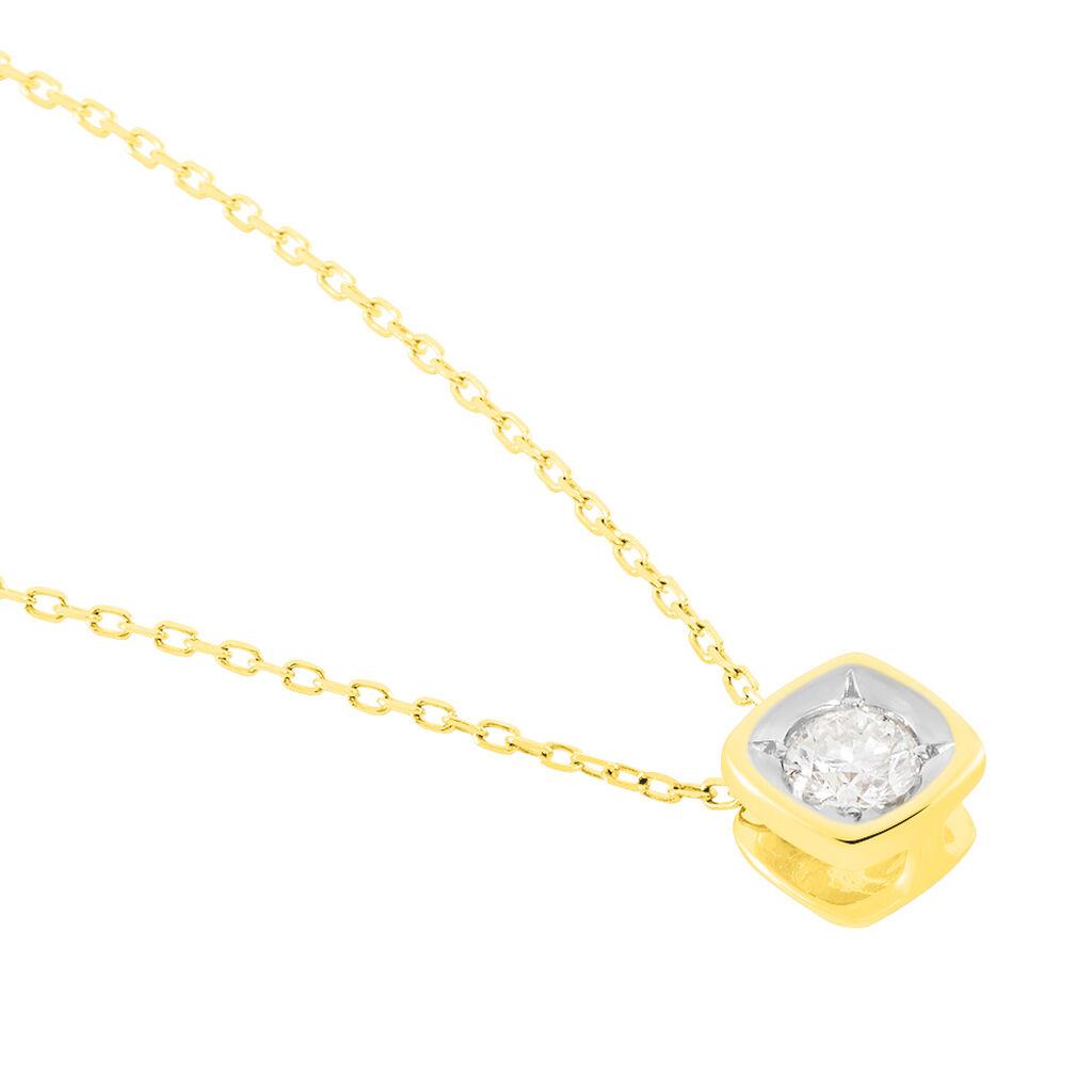 Damen Halskette Gold 375 Vergoldet Diamanten - Ketten mit Anhänger Damen   Oro Vivo