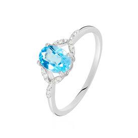 Damenring Weißgold 375 Topas Diamanten - Ringe mit Stein Damen | Oro Vivo