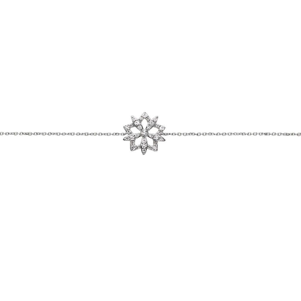 Damenarmband Weißgold 375 Zirkonia Schneflocke - Armbänder Damen | Oro Vivo