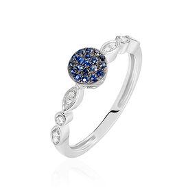 Damenring Weißgold 375 Saphir Diamanten - Ringe mit Edelsteinen Damen | Oro Vivo