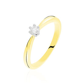 Solitärring Gold 375 Bicolor Diamant 0,1ct - Black Friday Damen | Oro Vivo