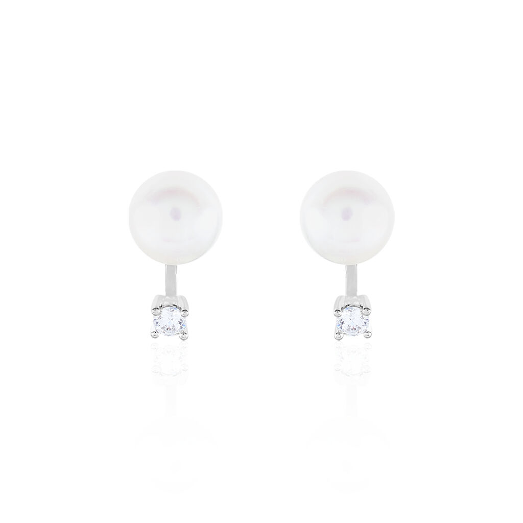 Damen Perlenohrringe Silber 925 Zuchtperlen 8-9mm - Ohrstecker Damen   Oro Vivo
