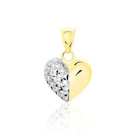 Anhänger Gold 375 Bicolor Herz  - Herzanhänger Damen   Oro Vivo