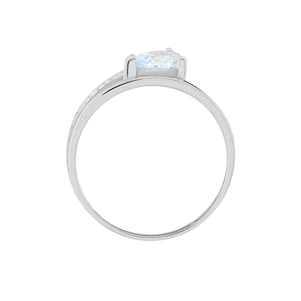 Damenring Weißgold 375 Topas Zirkonia - Ringe mit Stein Damen | Oro Vivo