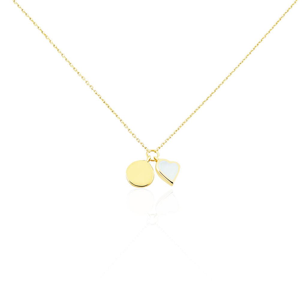 Damen Halskette Gold 375 Perlmutt Herz Gravierbar - Herzketten Damen | Oro Vivo