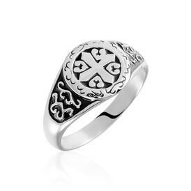 Herren Siegelring Edelstahl Kreuz geschwärzt - Ringe Herren   Oro Vivo