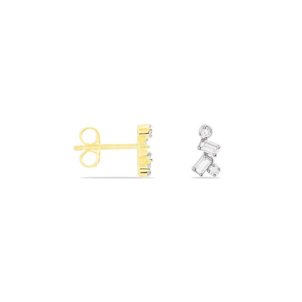 Damen Ohrstecker Gold 375 Bicolor Diamanten - Ohrstecker Damen | Oro Vivo