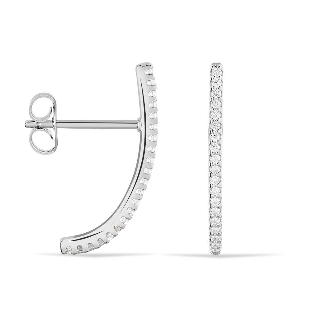 Damen Steckcreolen Silber 925 Zirkonia  - Creolen Damen   Oro Vivo