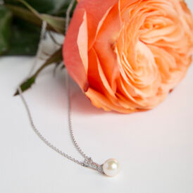 Damen Halskette Silber 925 Zuchtperle Zirkonia - Ketten mit Anhänger Damen   Oro Vivo