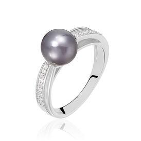 Damenring Silber 925 Zirkonia Synthetische Perle - Ringe mit Stein Damen | Oro Vivo