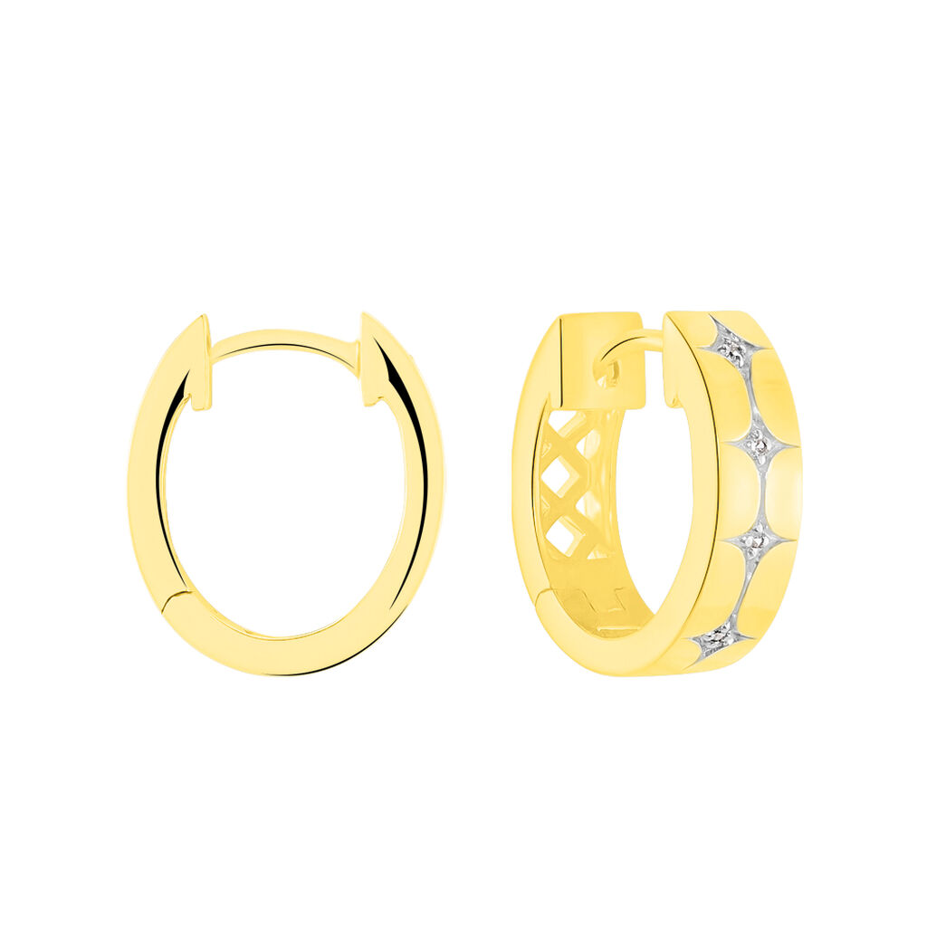 Damen Creolen Gold 375 Zirkonia Rhodiniert - Creolen Damen   Oro Vivo