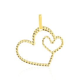 Anhänger Gold 375 Doppelherz  - Herzanhänger Damen | Oro Vivo